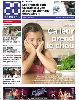La UNE du 20 minutes Lille - 2014
