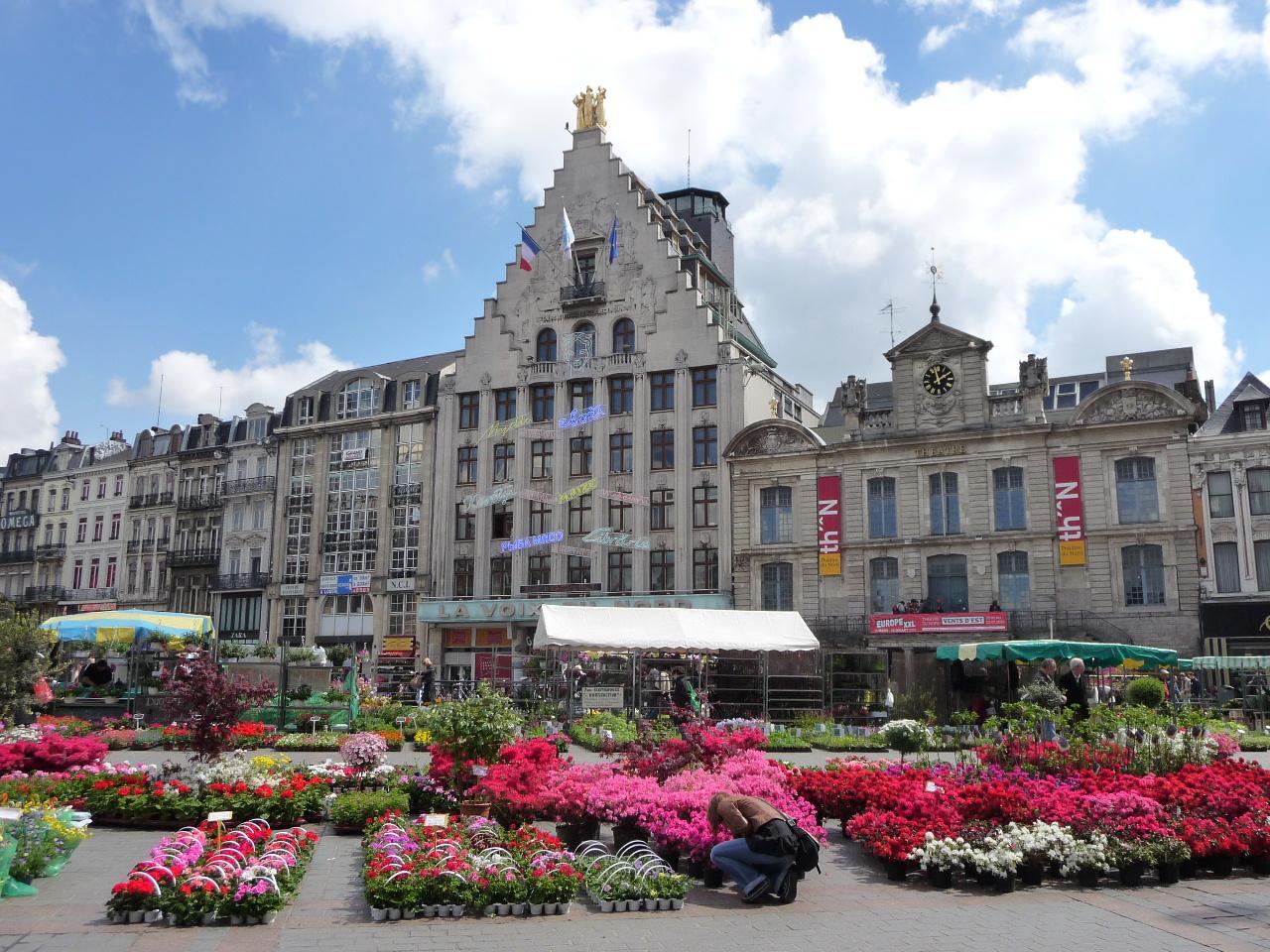 Le march aux fleurs sur la grand 39 place de lille du 24 au for Au dela du miroir lille