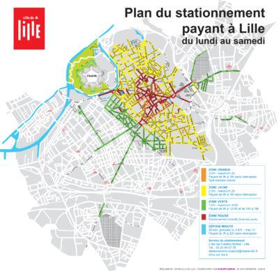 Plan du stationnement payant à Lille - 2016