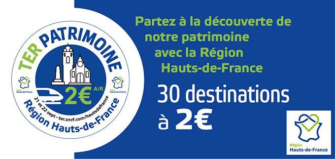 Journées du Patrimoine 2019 : billets TER Hauts-de-France à 2€ l'aller-retour